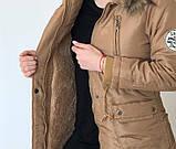 Женская приталенная куртка парка с капюшоном и мехом, фото 4