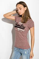 Футболка женская 516F462 цвет Бордовый меланж, фото 2