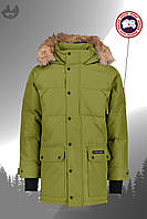 Парка мужская куртка зимняя теплая качественная зеленая Canada Goose Emory Parka