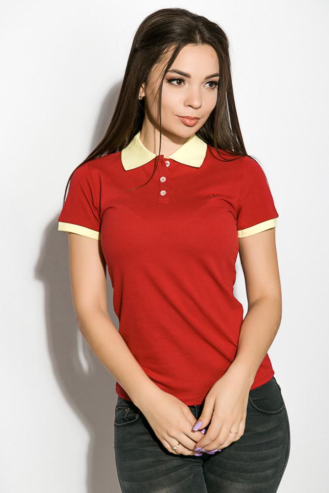 Поло женское 518F003 цвет Бордово-лимонный
