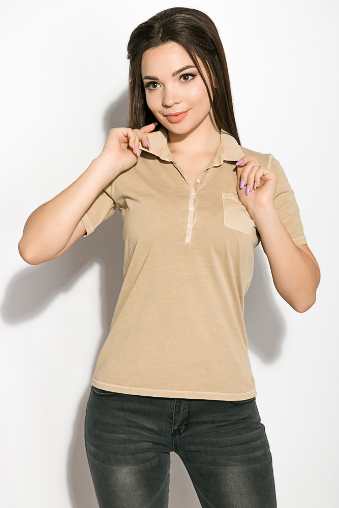 Поло женское 516F439-3 цвет Песочный варенка