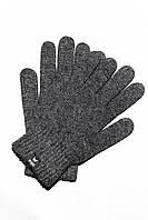 Вязаные шерстяные перчатки темно-серого цвета