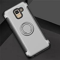 Чехол для Samsung J6 2018, бампер с подставкой и магнитной пластиной, цвет серебро