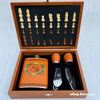 Подарочный набор фляга и рюмки с шахматами