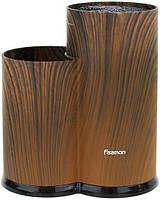Подставка-колода Fissman Dark Wood для кухонных ножей и ножниц 23х11х11см, двойная