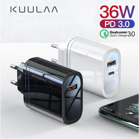 Быстрая зарядка KUULAA Quick Charge 3,0, 36 Вт USB/PD