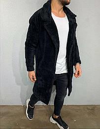 Мужская длинная плюшевая кофта черного цвета