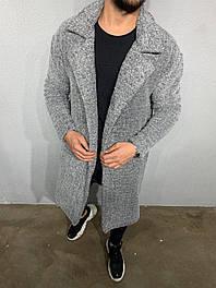 Мужская длинная плюшевая кофта серого цвета