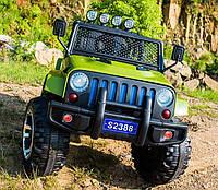 Детский электромобиль Джип M 3237 EBLR-10, Jeep Wrangler, 4 мотора, Кожа, EVA резина, Амортизаторы, хаки