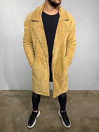Мужская длинная плшевая кофта бежевого цвета