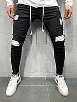 😝 Джинсы - Мужские молодежные черные джинсы с белыми вставками