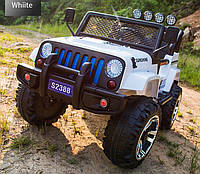 Детский электромобиль Джип M 3237 EBLR-1, Jeep Wrangler, 4 мотора, Кожа, EVA резина, Амортизаторы, белый