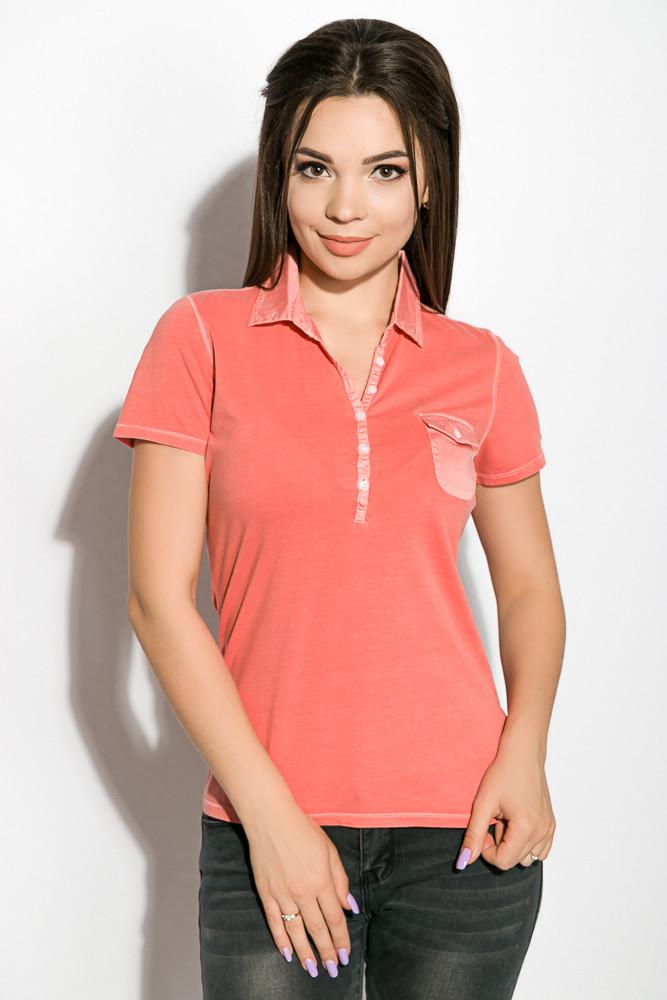 Поло женское 516F439-1 цвет Коралловый варенка