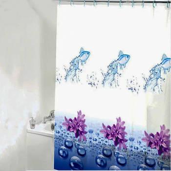 Шторка-занавеска для ванны/душа 180х180 PEVA (вода)
