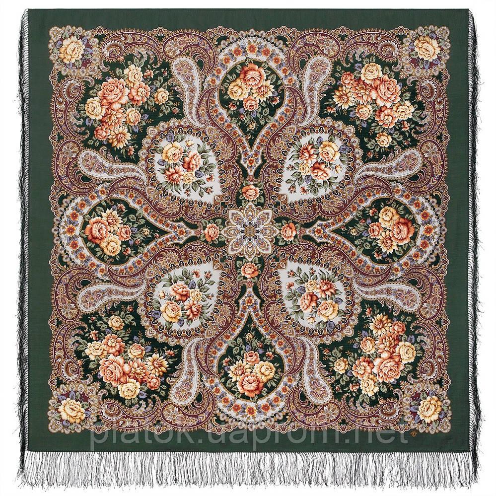 Сибирская красавица 1873-10, павлопосадский платок шерстяной  с шелковой бахромой