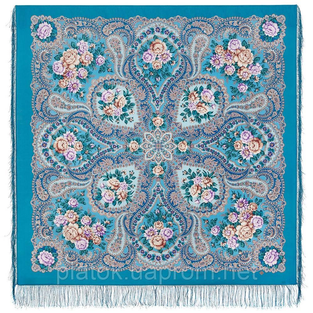 Сибирская красавица 1873-11, павлопосадский платок шерстяной  с шелковой бахромой