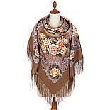 Сибирская красавица 1873-16, павлопосадский платок шерстяной  с шелковой бахромой, фото 3