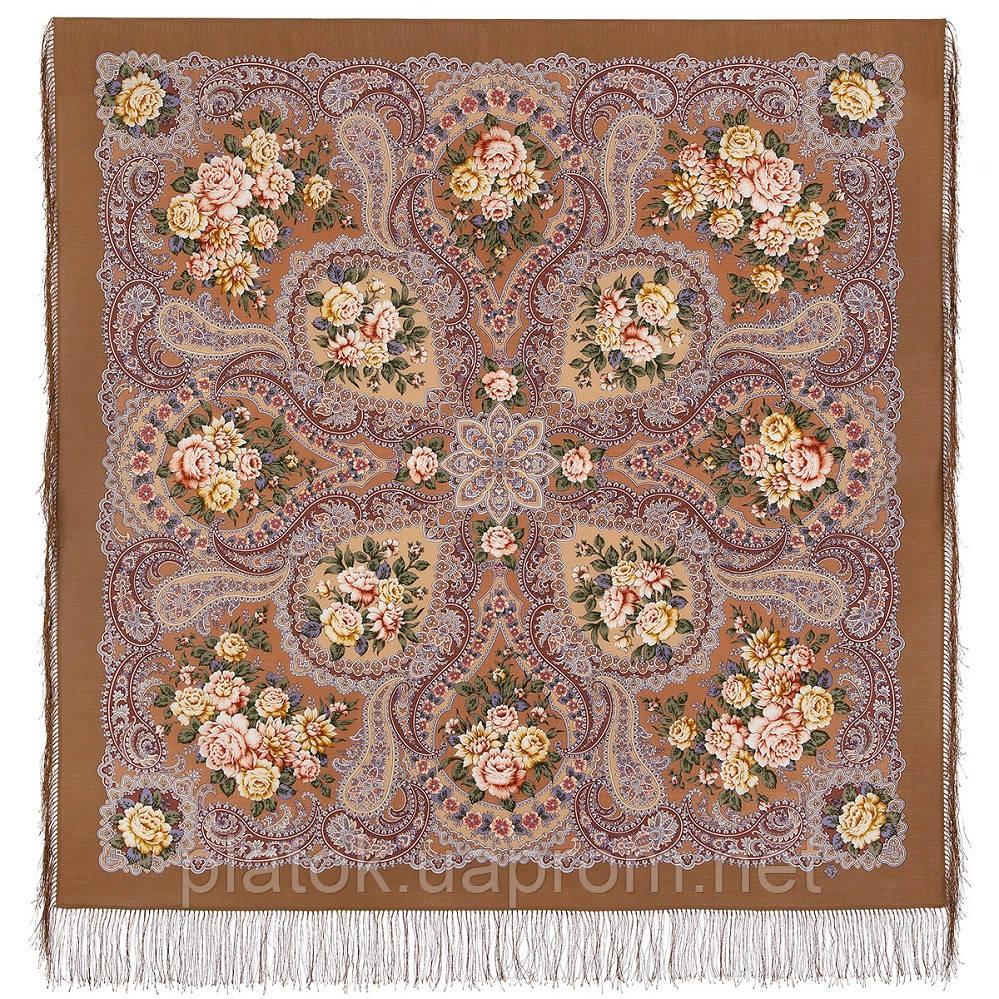 Сибирская красавица 1873-16, павлопосадский платок шерстяной  с шелковой бахромой