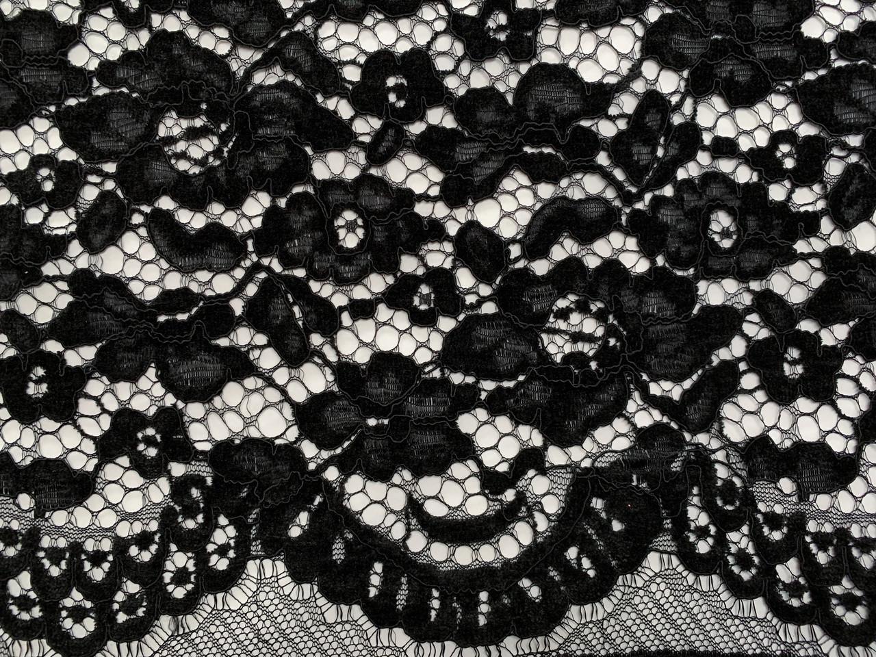 Ткань Гипюр бархатный двухсторонний фестон, черный