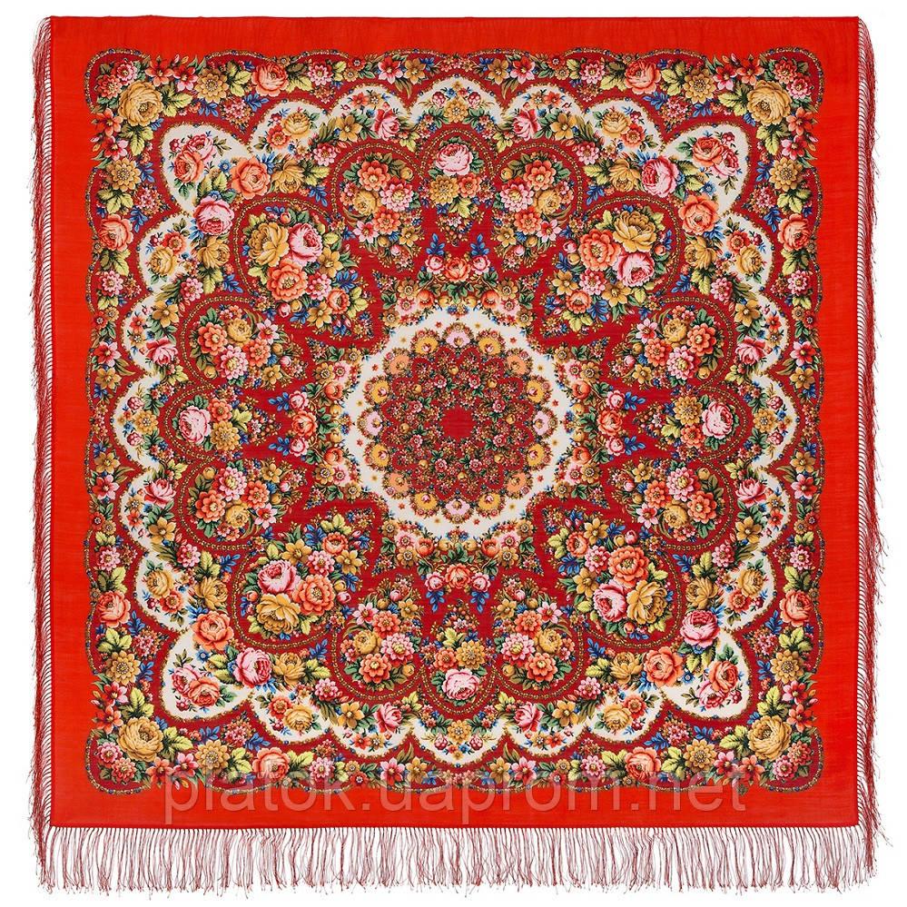 Именины сердца 1868-5, павлопосадский платок шерстяной  с шелковой бахромой