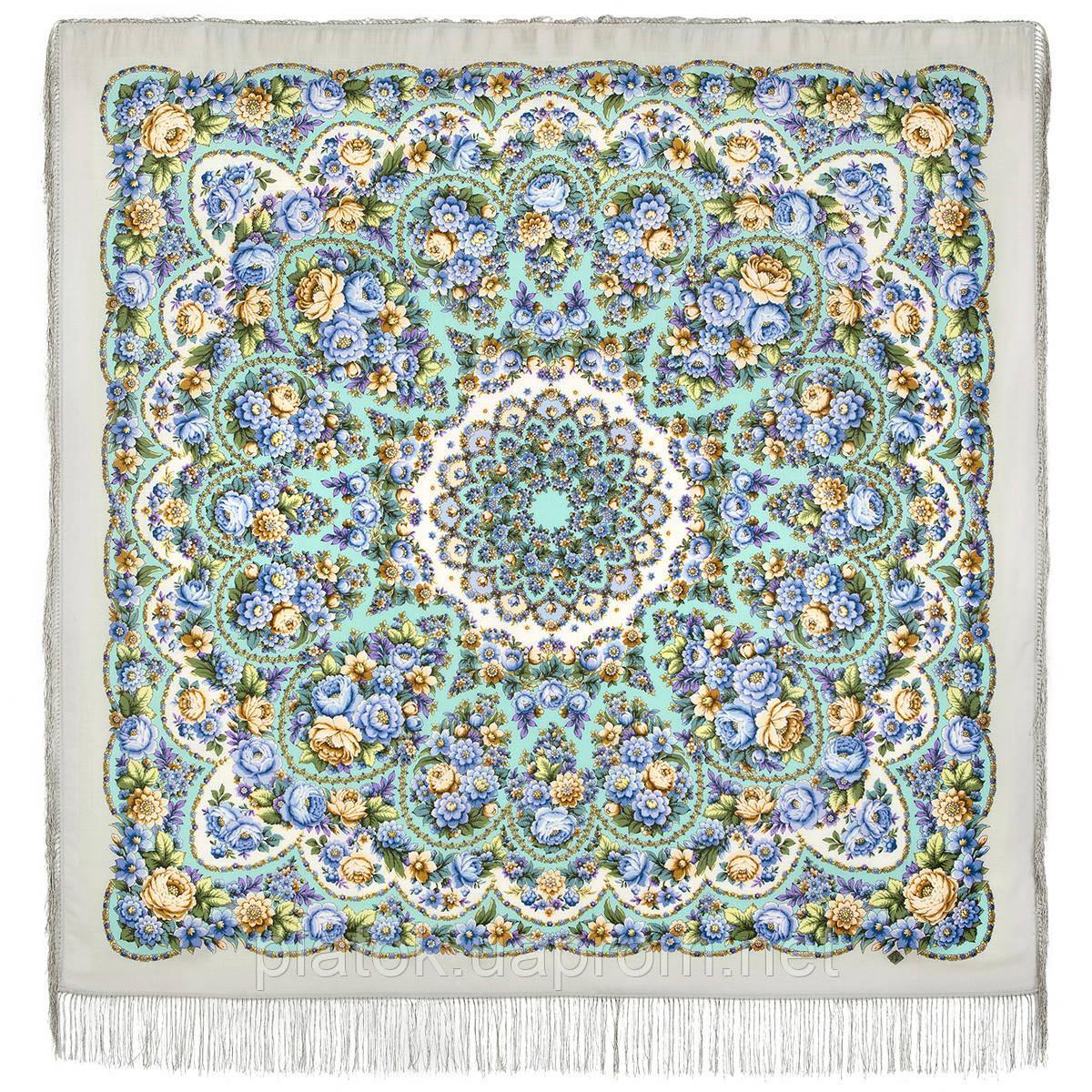 Именины сердца 1868-1, павлопосадский платок шерстяной  с шелковой бахромой