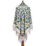 Именины сердца 1868-1, павлопосадский платок шерстяной  с шелковой бахромой, фото 3