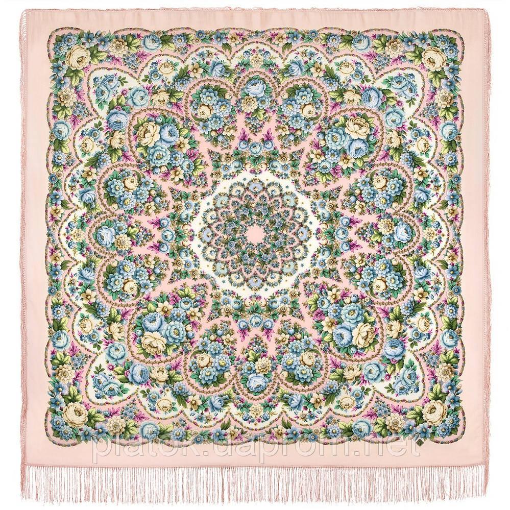 Именины сердца 1868-3, павлопосадский платок шерстяной  с шелковой бахромой