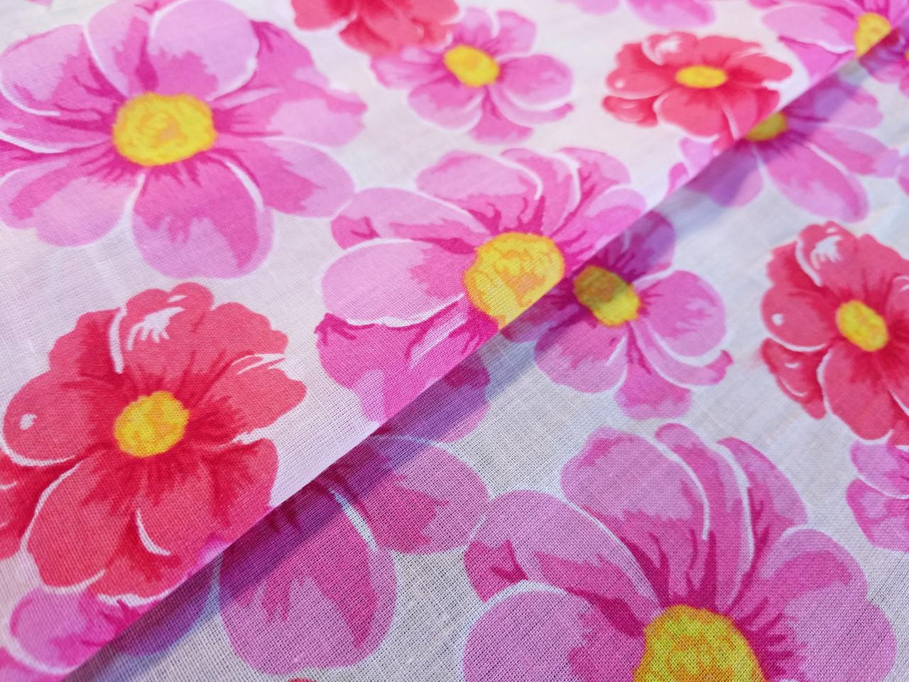 Коттон рисунок крупные цветы, коралловый с розовым