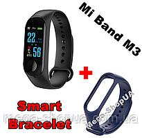 Фитнес браслет трекер Mi Band M3 зарядка USB, женские мужские умные смарт часы Синие. Розумний годинник