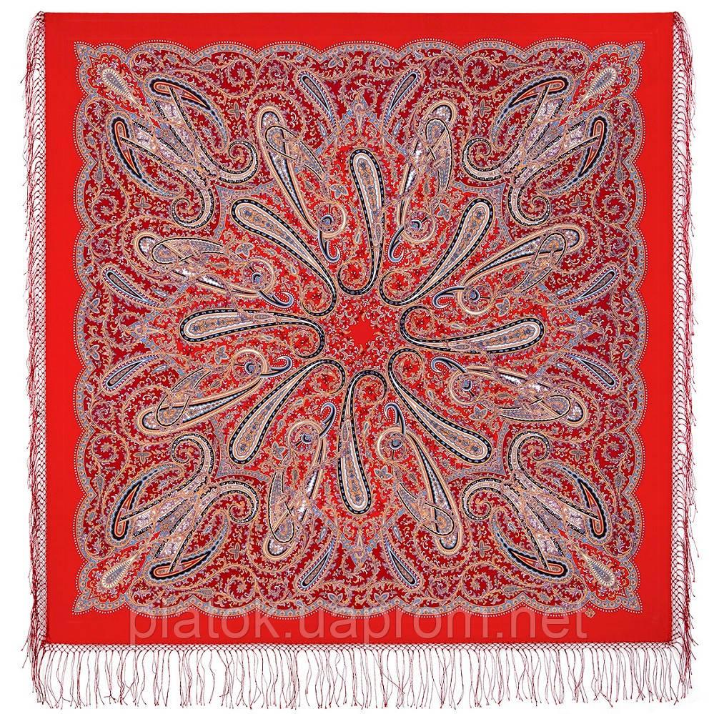 Морская царевна 1892-5, павлопосадский платок шерстяной (двуниточная шерсть) с шелковой вязаной бахромой
