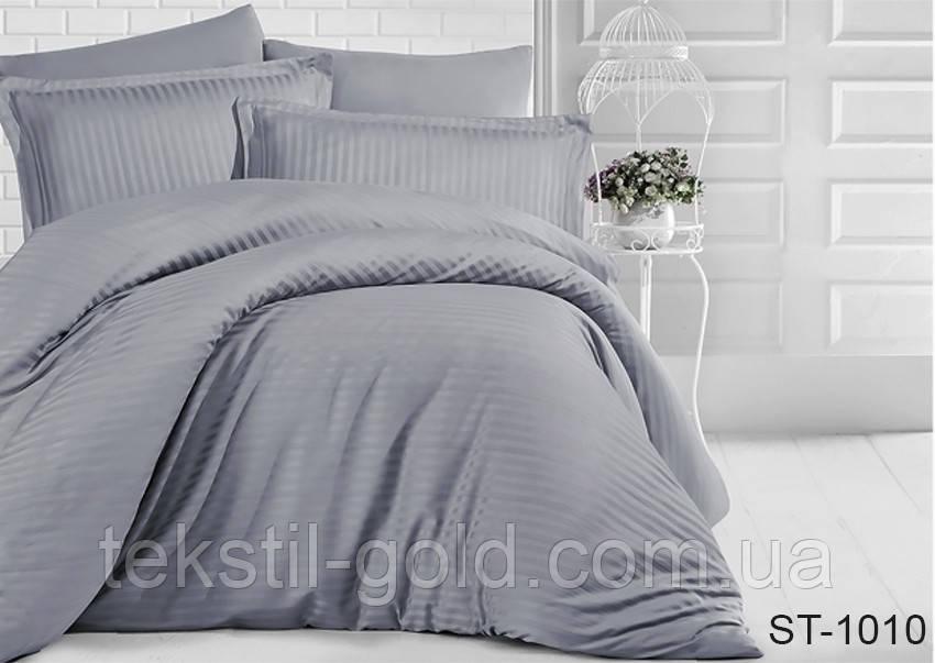 1,5-спальный комплект постельного белья ТМ TAG (Украина) страйп-сатин ST-1010