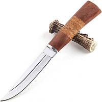 Нож охотничий Бода, рукоять дерево и береста, чехол на пояс, ножи для охоты нескладне, фото 1