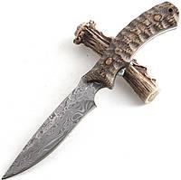 Нож охотничий с иммитацией дамаска Boda, с чехлом, с рисунком дамасской стали
