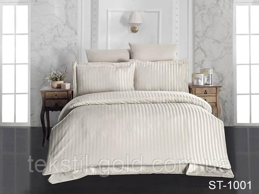 1,5-спальный комплект постельного белья ТМ TAG (Украина) страйп-сатин ST-1001