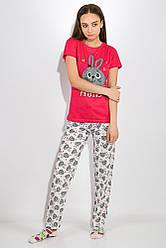 Пижама женская 317F019 цвет Малиново-серый