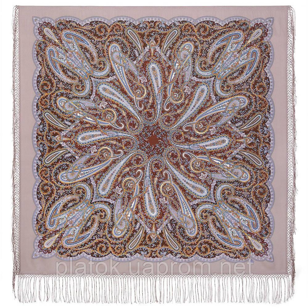 Морская царевна 1892-16, павлопосадский платок шерстяной (двуниточная шерсть) с шелковой вязаной бахромой