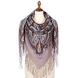 Морская царевна 1892-16, павлопосадский платок шерстяной (двуниточная шерсть) с шелковой вязаной бахромой, фото 2
