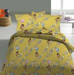Комплект Винни на желтом в детскую кроватку/садик с резинкой и без, бязь