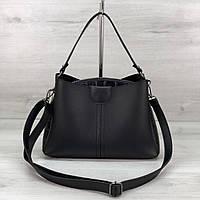 Модная женская сумка на три отделения черная