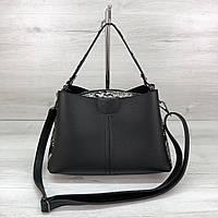 Модная женская сумка на три отделения черная с боками черно-белая змея