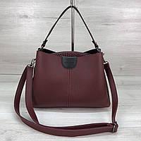 Модная женская сумка на три отделения бордового цвета