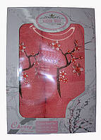 """Подарочный Набор Махровых Полотенец """"Сакура"""" (1шт.-70*140, 1 шт.-50*100) цвет: персиковый"""
