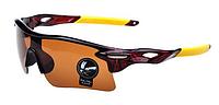 Мужские солнцезащитные очки спортивные коричневые, Очки для спорта, для велосипеда