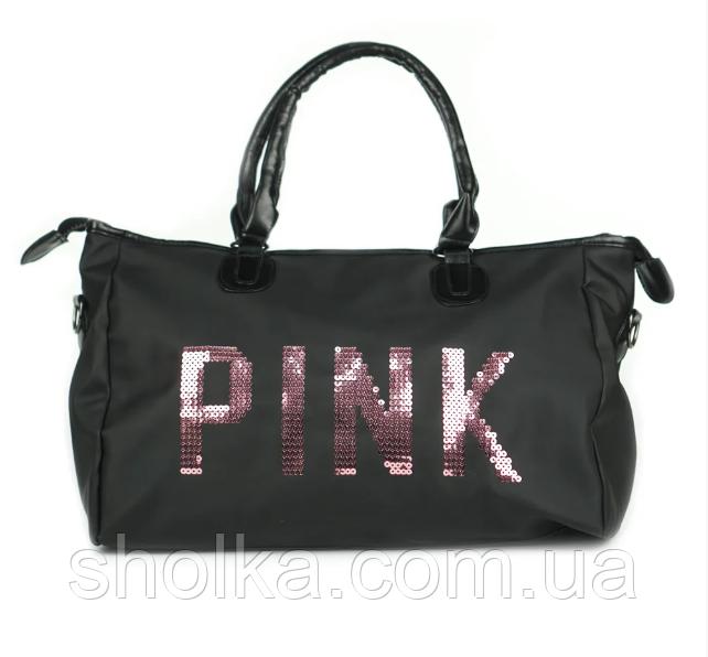 Большая женская сумка в стиле Victoria's Secret с пайетками Pink черная