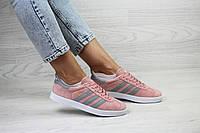 Женские кроссовки Adidas Gazelle,замшевые,пудра с серым