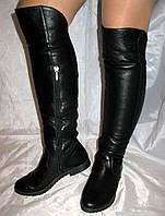 Зимние высокие кожаные сапоги на низком ходу
