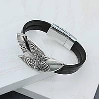 """Кожаный женский браслет """"Птаха"""" 18 размер"""