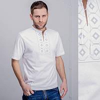 Мужская вышитая футболка: серая вышивка - ромб, белая