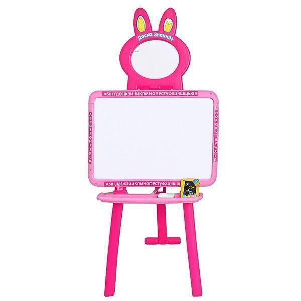Дитяча дошка мольберт і магнітна дошка для малювання 3 в 1 0703 UK-ENG Рожева