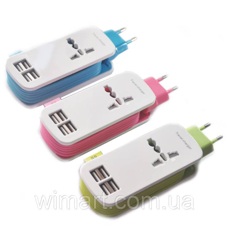 Удлинитель Travel Charger 4 USB (1.5м.), синий